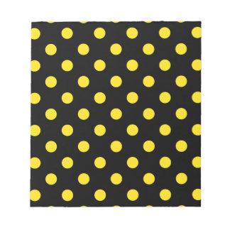 Polka Dots - Golden Yellow on Black Notepad