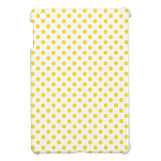Polka Dots - Golden Yellow on White iPad Mini Cases