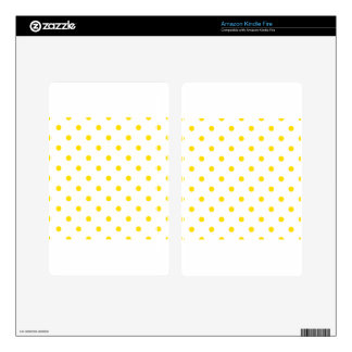 Polka Dots - Golden Yellow on White Kindle Fire Skin
