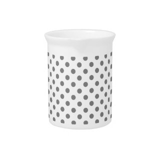 Polka Dots - Gray on White Drink Pitchers