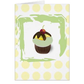 Polka Dots Green Cupcake with Cherry Birthday Card