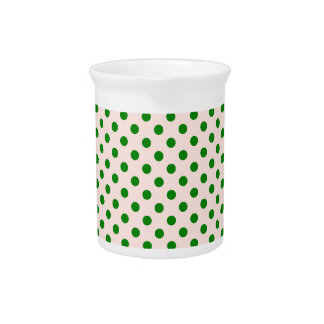 Polka Dots - Green on Pink Pitcher