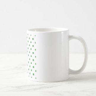 Polka Dots - Green on White Coffee Mug