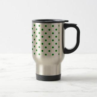 Polka Dots - Green on White Mug