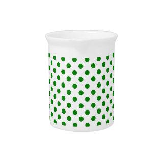 Polka Dots - Green on White Beverage Pitcher