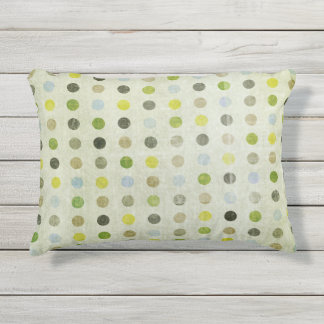 Polka Dots - Greens and Light Blues Outdoor Pillow