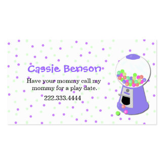 Polka Dots Gumball Machine Play Date Card Business Card