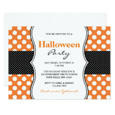 Polka Dots Halloween Party Invitations