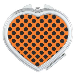 Polka Dots Heart Compact Mirror - Black on Orange