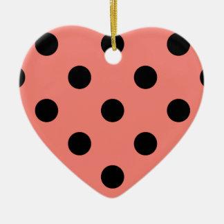 Polka Dots Huge - Black on Coral Pink Ceramic Ornament