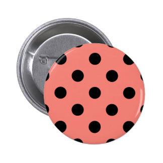 Polka Dots Huge - Black on Coral Pink Pinback Button