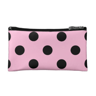 Polka Dots Huge - Black on Cotton Candy Cosmetic Bag