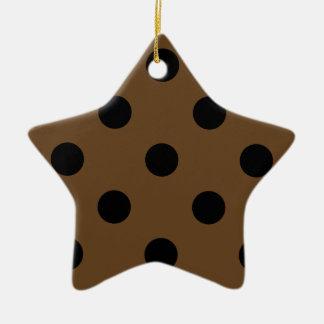 Polka Dots Huge - Black on Dark Brown Ceramic Ornament