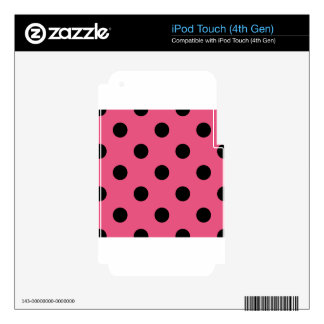 Polka Dots Huge - Black on Dark Pink iPod Touch 4G Decal