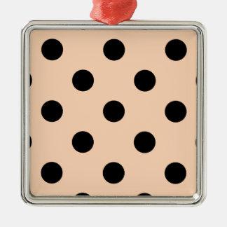 Polka Dots Huge - Black on Deep Peach Metal Ornament