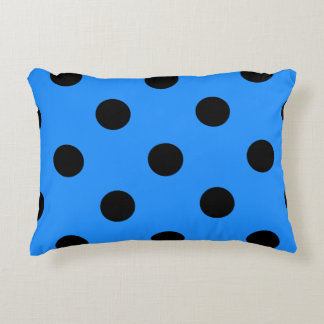 Polka Dots Huge - Black on Dodger Blue Decorative Pillow