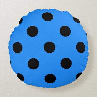 Polka Dots Huge - Black on Dodger Blue Round Pillow