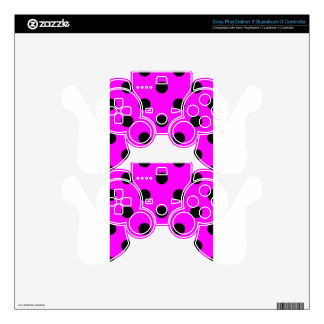 Polka Dots Huge - Black on Fuchsia PS3 Controller Decals