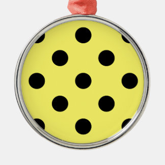 Polka Dots Huge - Black on Lemon Metal Ornament