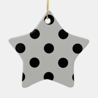 Polka Dots Huge - Black on Light Gray Ceramic Ornament