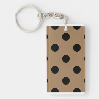 Polka Dots Huge - Black on Pale Brown Double-Sided Rectangular Acrylic Keychain