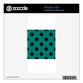 Polka Dots Huge - Black on Pine Green Skins For iPhone 4S