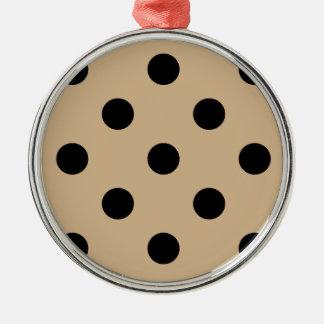 Polka Dots Huge - Black on Tan Metal Ornament