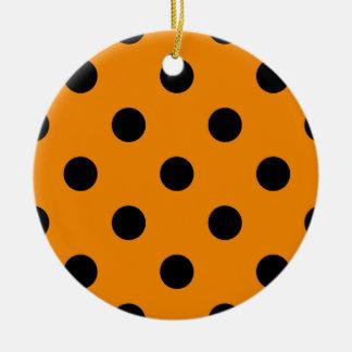 Polka Dots Huge - Black on Tangerine Ceramic Ornament