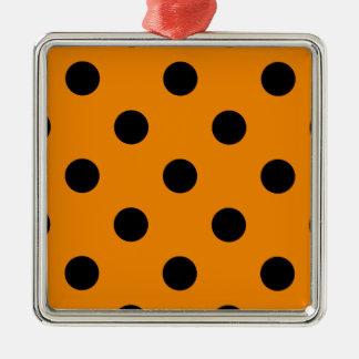 Polka Dots Huge - Black on Tangerine Metal Ornament