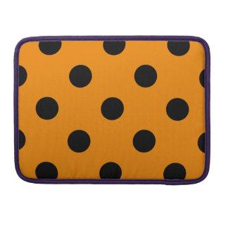Polka Dots Huge - Black on Tangerine Sleeve For MacBooks