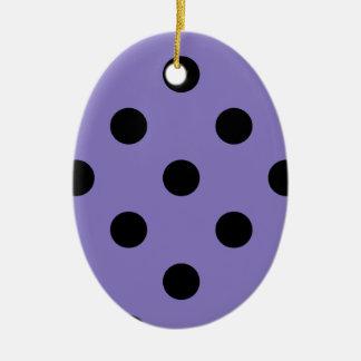 Polka Dots Huge - Black on Ube Ceramic Ornament