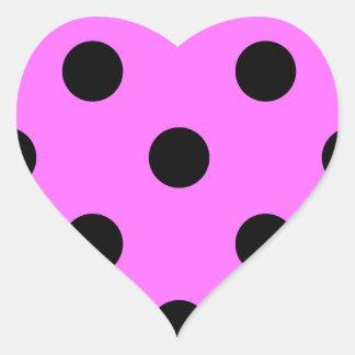 Polka Dots Huge - Black on Ultra Pink Heart Sticker
