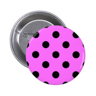 Polka Dots Huge - Black on Ultra Pink Pinback Button