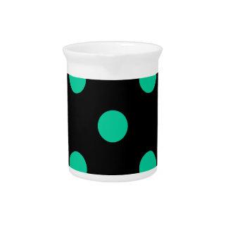 Polka Dots Huge - Caribbean Green on Black Beverage Pitcher