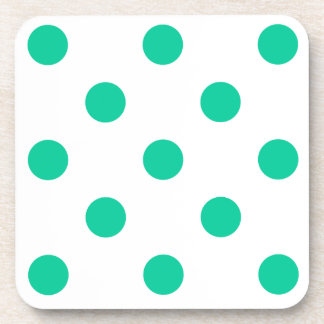 Polka Dots Huge - Caribbean Green on White Beverage Coasters