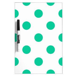 Polka Dots Huge - Caribbean Green on White Dry-Erase Whiteboards