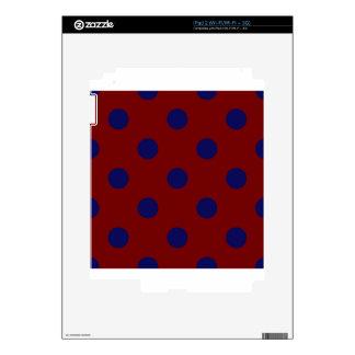 Polka Dots Huge - Dark Blue on Dark Red iPad 2 Skins