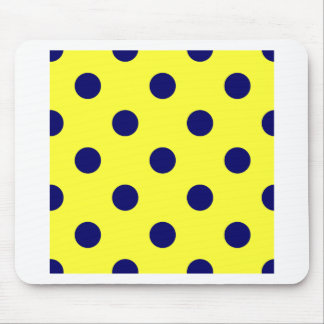 Polka Dots Huge - Dark Blue on Electric Yellow Mouse Pad