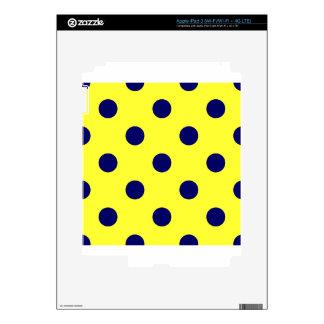 Polka Dots Huge - Dark Blue on Electric Yellow iPad 3 Skin
