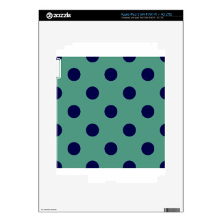 Polka Dots Huge - Dark Blue on Light Green Skins For iPad 3