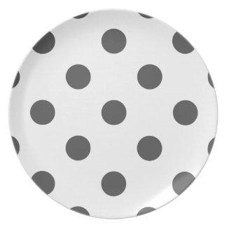 Polka Dots Huge - Dark Gray on White Dinner Plates
