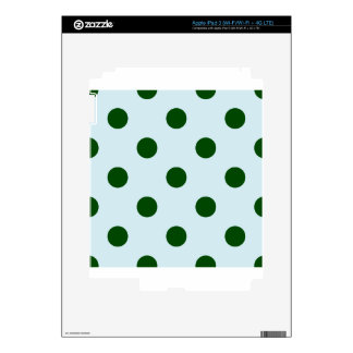 Polka Dots Huge - Dark Green on Light Blue Skins For iPad 3
