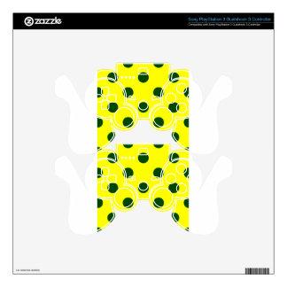 Polka Dots Huge - Dark Green on Yellow PS3 Controller Decal