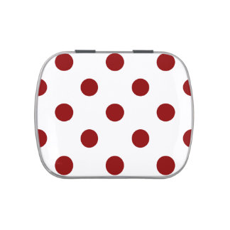 Polka Dots Huge - Dark Red on White Jelly Belly Candy Tins