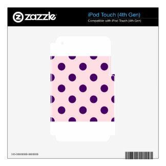 Polka Dots Huge - Dark Violet on Pink iPod Touch 4G Skins