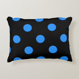 Polka Dots Huge - Dodger Blue on Black Decorative Pillow