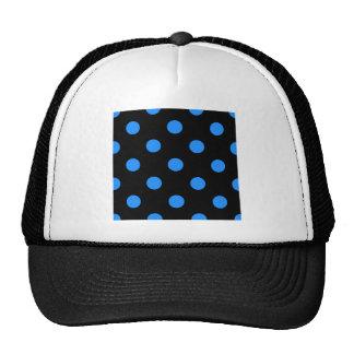 Polka Dots Huge - Dodger Blue on Black Trucker Hat