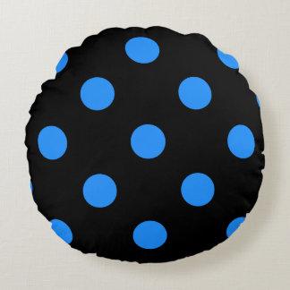 Polka Dots Huge - Dodger Blue on Black Round Pillow