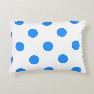 Polka Dots Huge - Dodger Blue on White Decorative Pillow