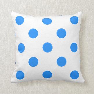 Polka Dots Huge - Dodger Blue on White Pillow